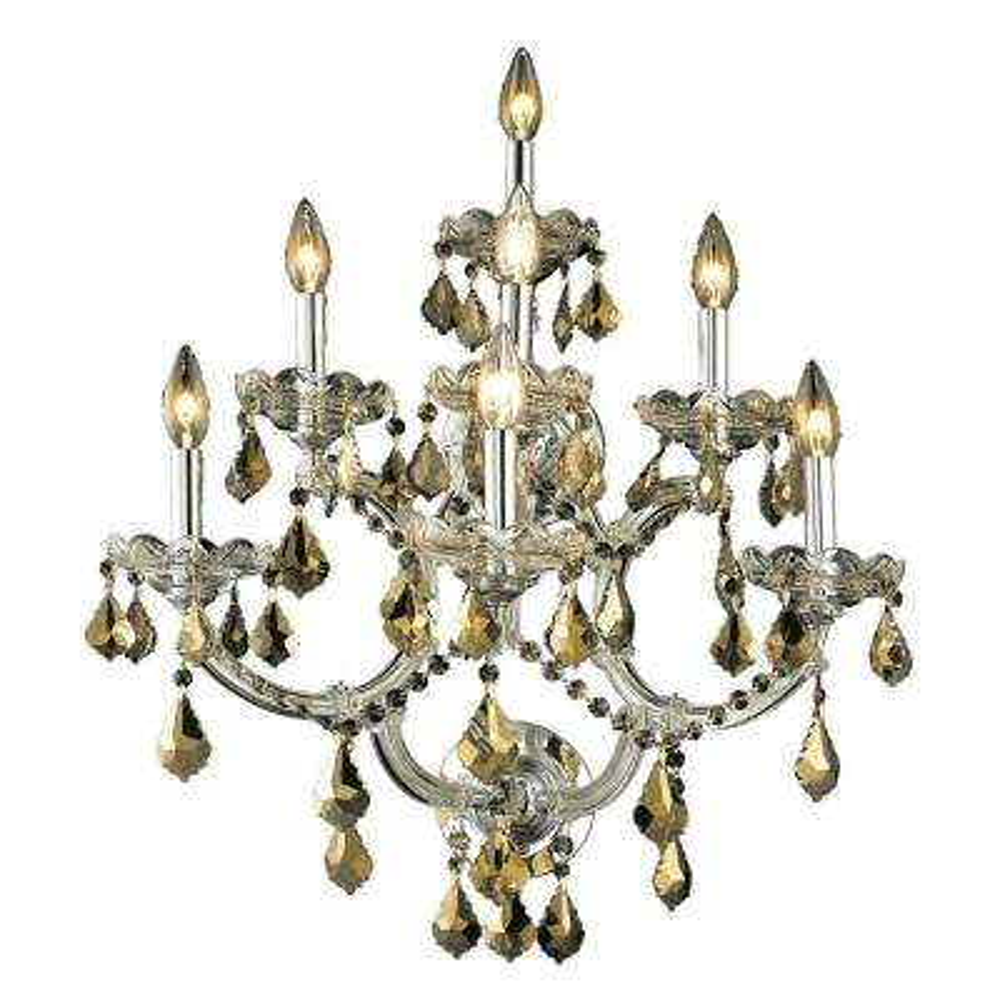 7-Light Chrome Sconce with Golden Teak Smoky Crystal