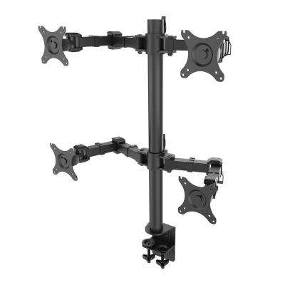 Desk Mounts LCD Stand Quad Monitor Arm Fits 10 in. - 27 in. LCD Screens Clamp Support 22 lbs. Each Monitor