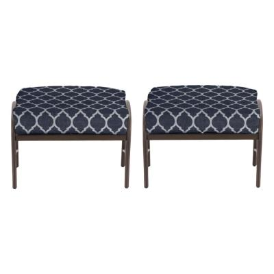 Oak Cliff Brown Steel Outdoor Patio Ottoman with CushionGuard Midnight Trellis Navy Blue Cushions (2-Pack)