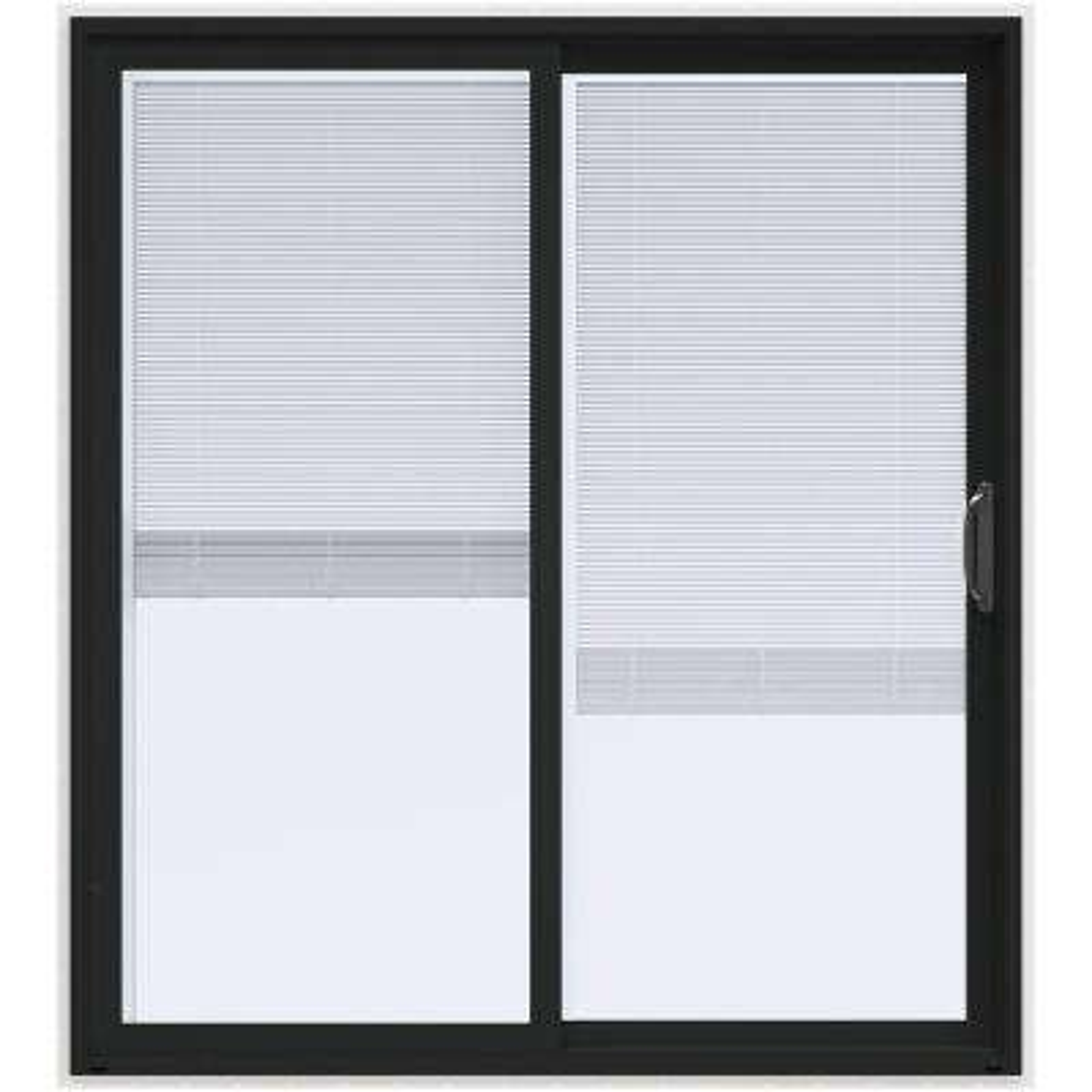 72 in. x 80 in. V-4500 Contemporary Bronze Paint Vinyl Right-Hand Full Lite Sliding Patio Door w/White Interior & Blinds