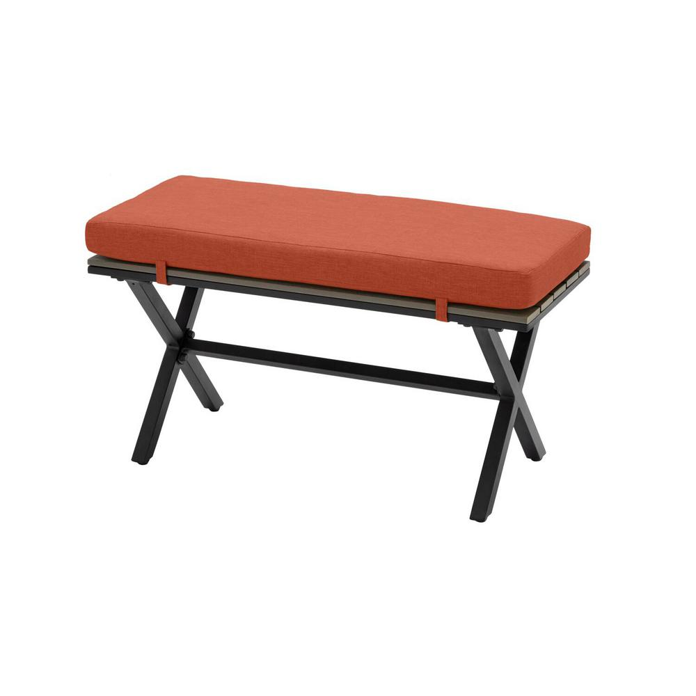 Hampton Bay Laguna Point Brown Steel with Wood Top Outdoor Patio Bench with Standard Quarry Red Cushions