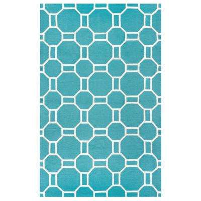 Azzura Hill Teal Geometric 5 ft. x 8 ft. Outdoor Area Rug