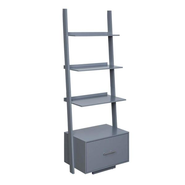 American Heritage 69 in. Gray Wood 4-Shelf Ladder Bookcase with File Drawer