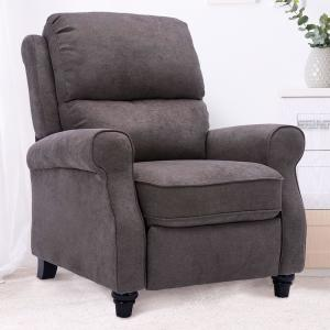 Gray Recliner Chair,Modern reclining Sofa with Roll Arm Pushback Manual Recliner Heavy Duty