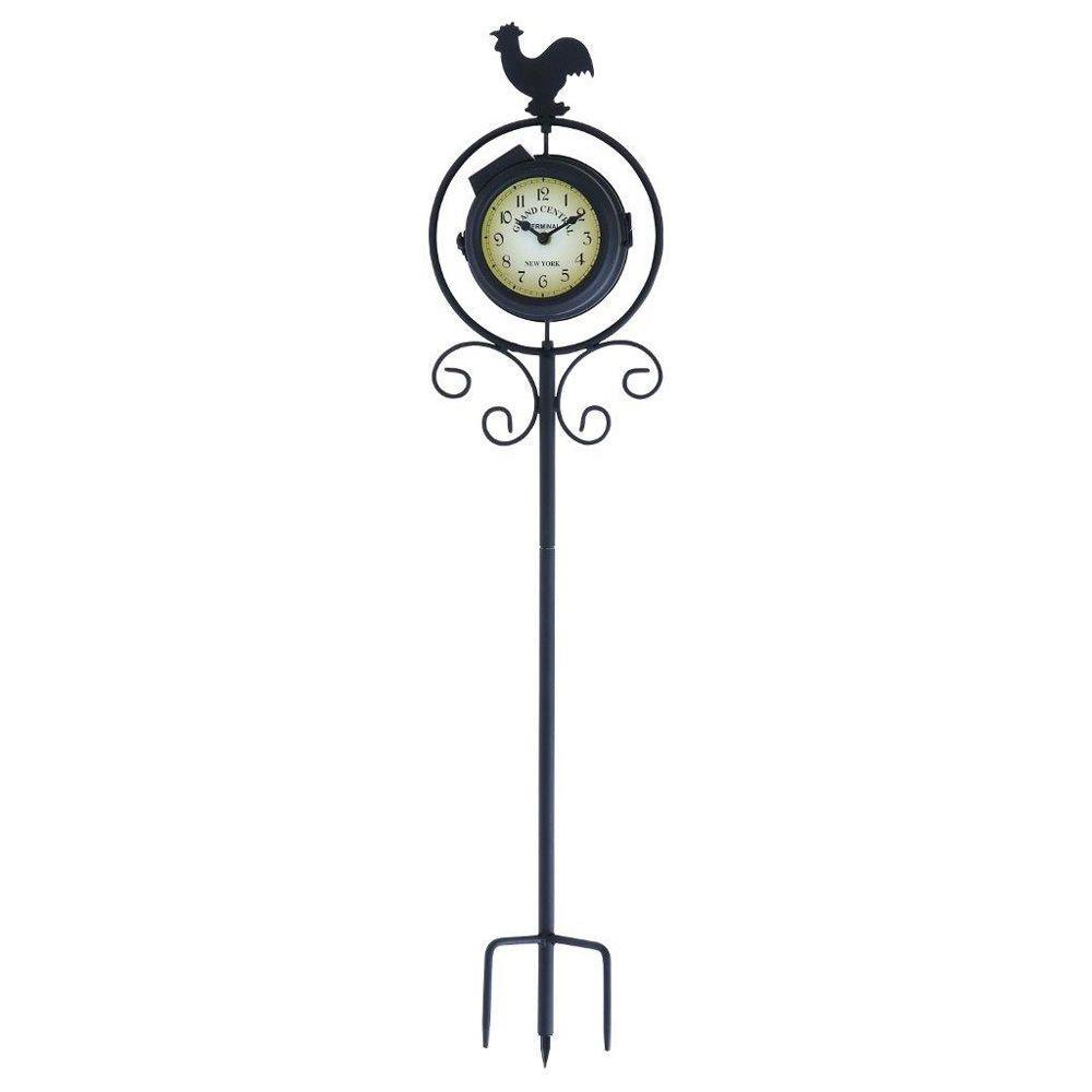ORE International 30 in. H x 7 in. L x 4 in. W Metal Clock Therm