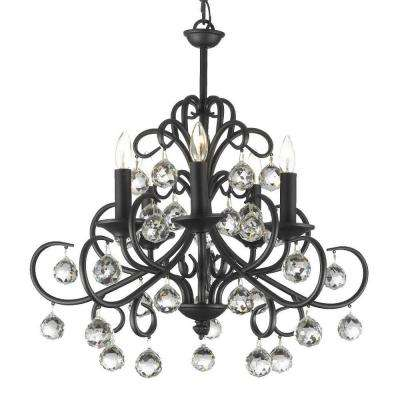 Versailles Bellora Iron and Crystal 5-Light Black Chandelier