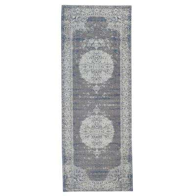 Jewel Distressed Medallion Border Natural / Beige 3 ft. x 7 ft. Indoor Runner Rug