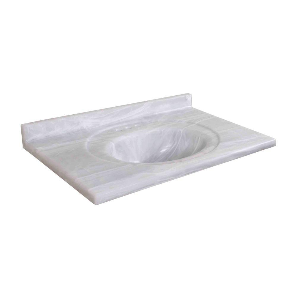 Pacific 37 in. Cultured Marble Vanity Top in White Onyx with