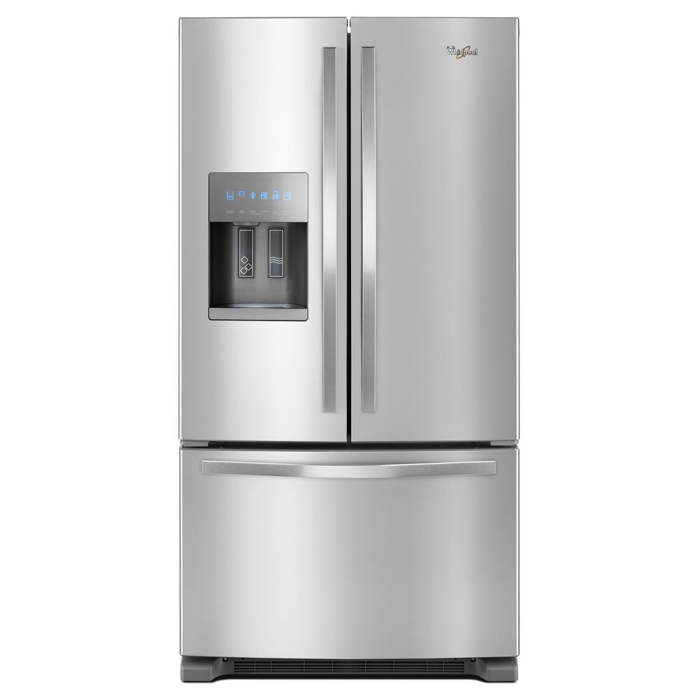 Whirlpool 36 In W 25 Cu Ft French Door Refrigerator In