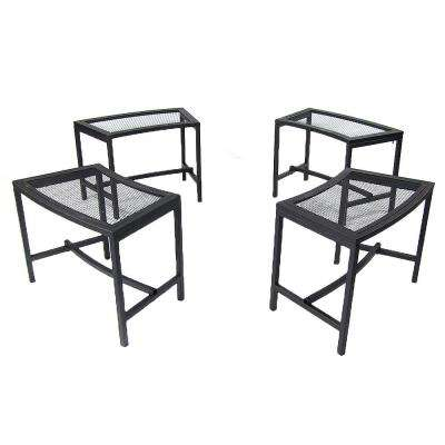 23 in. x 16 in. Black Metal Mesh Fire Pit Outdoor Bench (Set of 4)