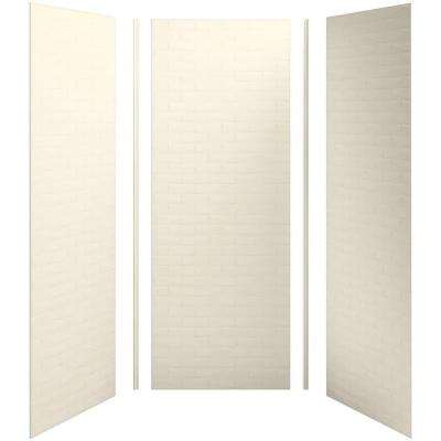 Choreograph 36 in. x 36 in. x 96 in. 5-Piece Shower Wall Surround in Almond with Brick Texture for 96 in. Showers