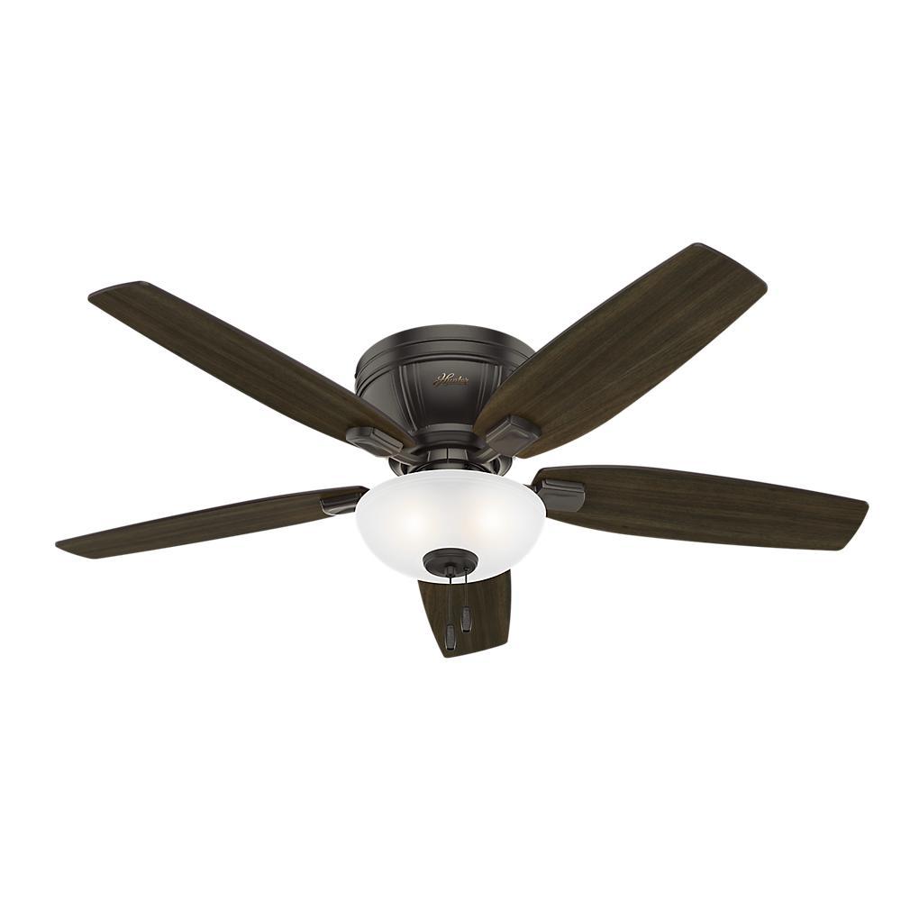 Hunter Kenbridge 52 In Led Low Profile Indoor Noble Bronze Ceiling Fan 53379 The Home Depot