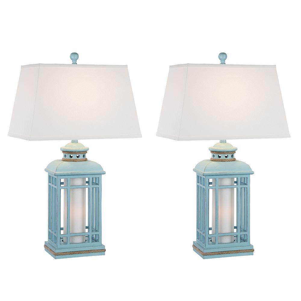 32 5 In Glacier Blue Indoor Table Lamp Set Mai Al400 Gl Nl