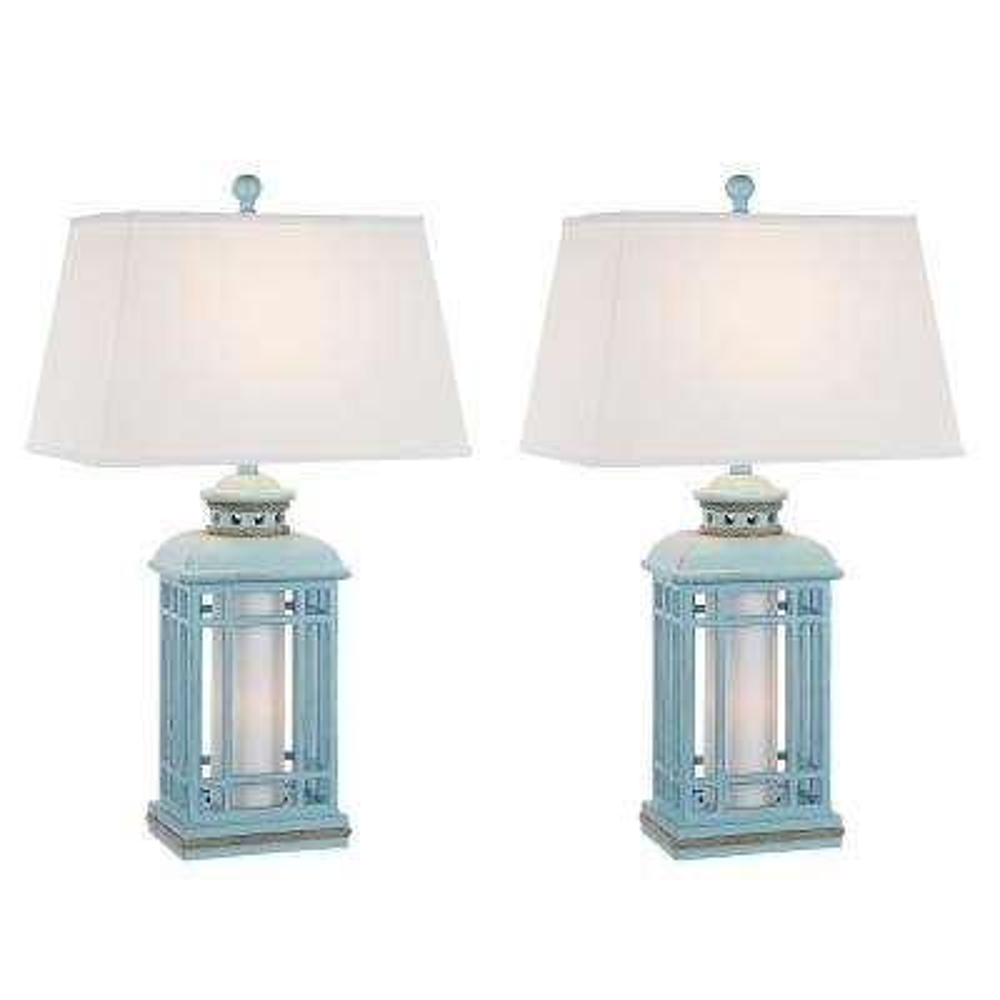 30.5 in. Glacier Blue Indoor Table Lamp Set