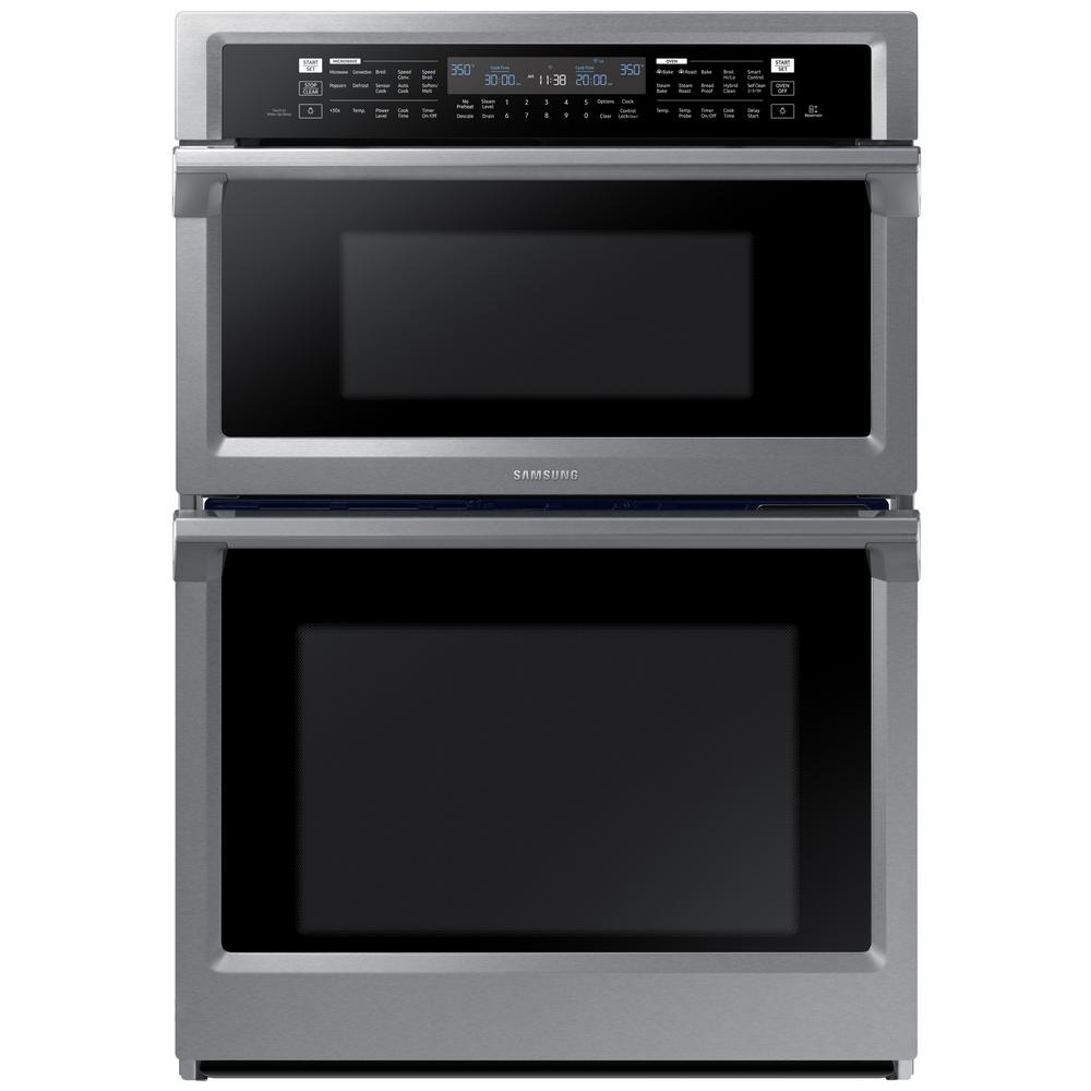 Samsung 30 in electric dual convection and steam cook wall oven with built in microwave in - Built in microwave home depot ...