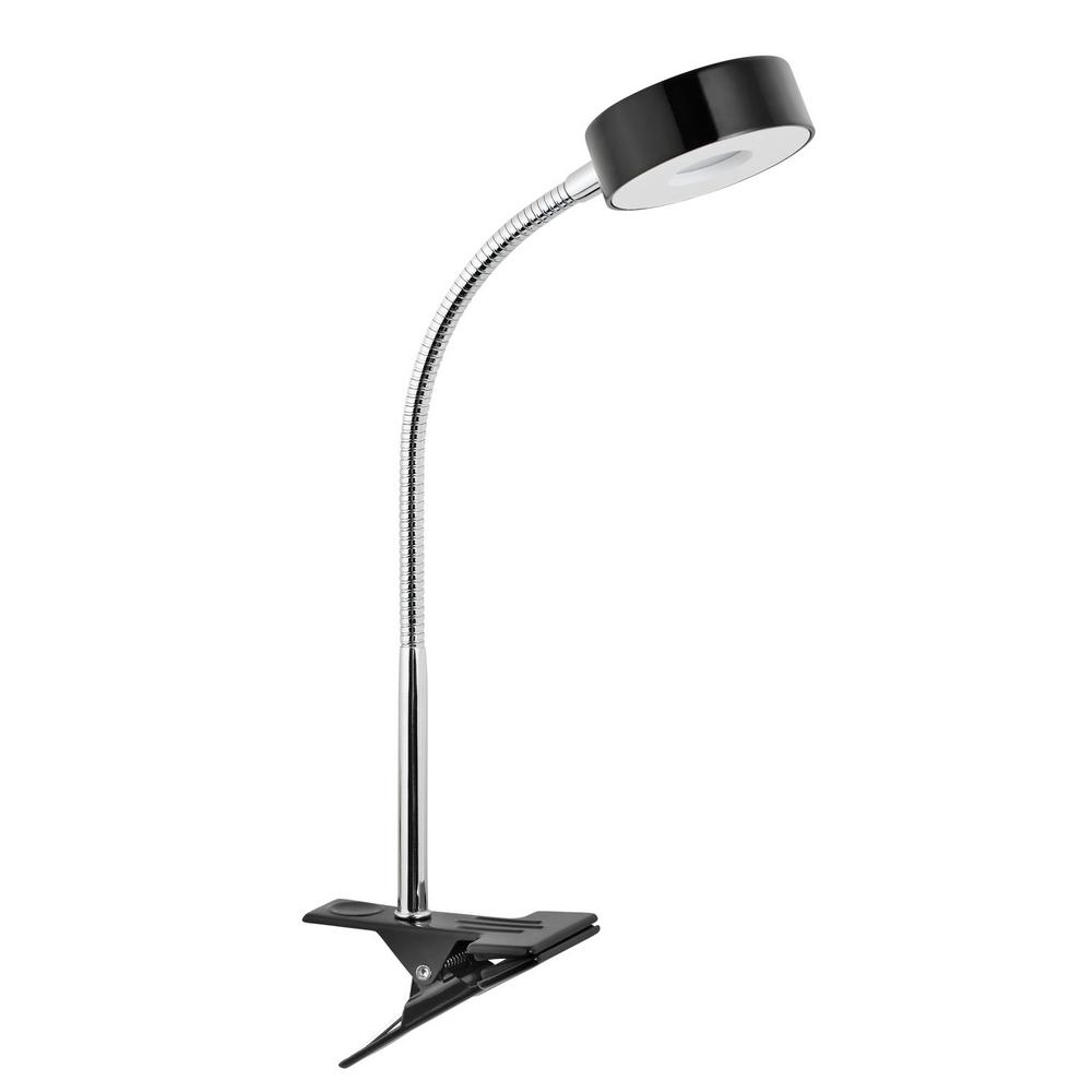 Globe Electric LED for Life 15 in. Energy Star Black and Chrome LED Clip Lamp