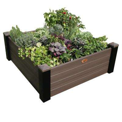 48 in. x 48 in. x 18 in. Maintenance Free Black and Walnut Vinyl Raised Garden Bed