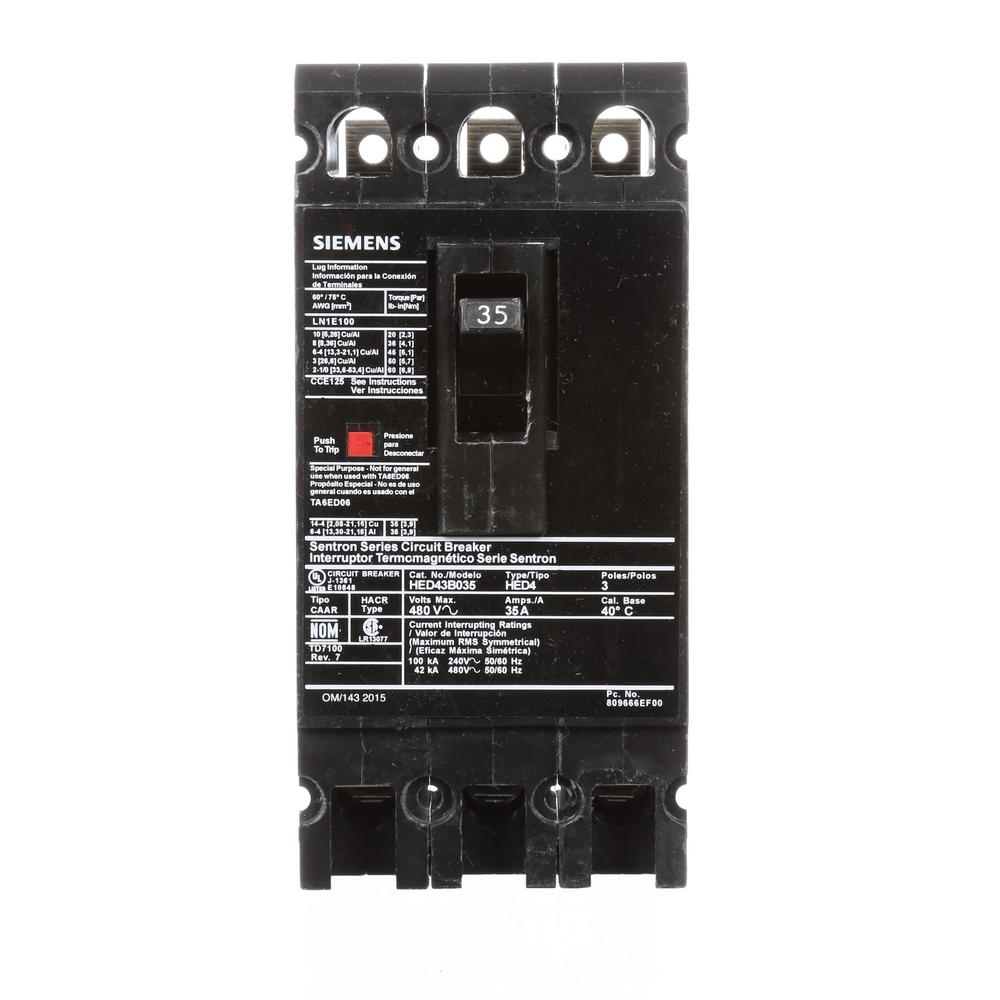 siemens 35 amp 3 pole type ed 42 ka circuit breaker hed43b035 the home depot. Black Bedroom Furniture Sets. Home Design Ideas