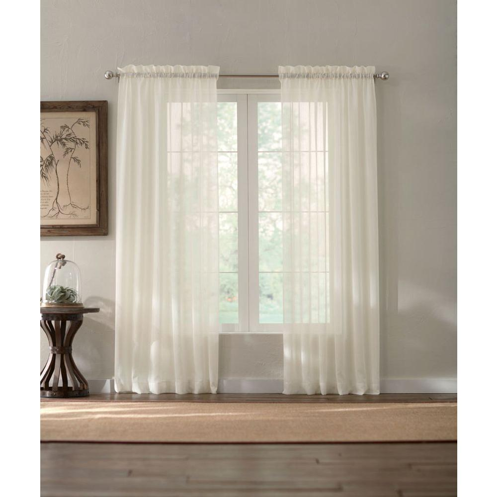 Home Decorators Collection Sheer White Semi Sheer Rod Pocket Curtain Price Varies By Size: home decorators collection valance