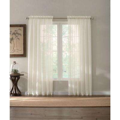 Sheer White Semi Sheer Rod Pocket Curtain (Price Varies by Size)