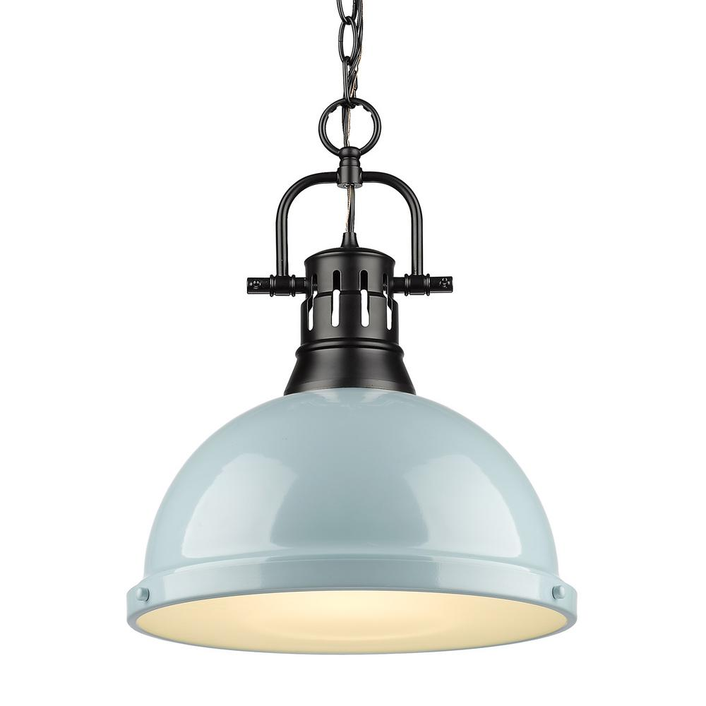 Golden Lighting Duncan 1 Light Black Pendant And Chain With Seafoam Shade