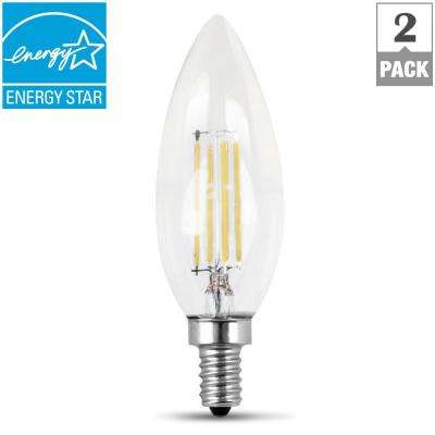 60W Equivalent Daylight (5000K) B10 Candelabra Dimmable Filament LED Clear Glass Light Bulb (2-Pack)