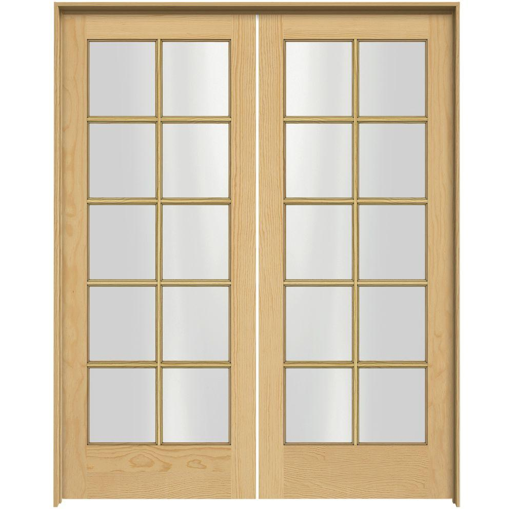 JELD-WEN Woodgrain 10-Lite Unfinished Pine Prehung Interior French Double Door with Pine Jamb-DISCONTINUED