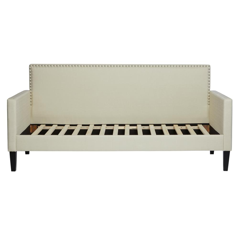 Cream Upholstered Twin-size Square Back Daybed in