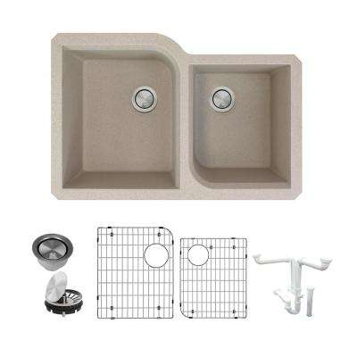 Radius All-in-One Undermount Granite 32 in. Double Offset Bowl Kitchen Sink in Cafe Latte