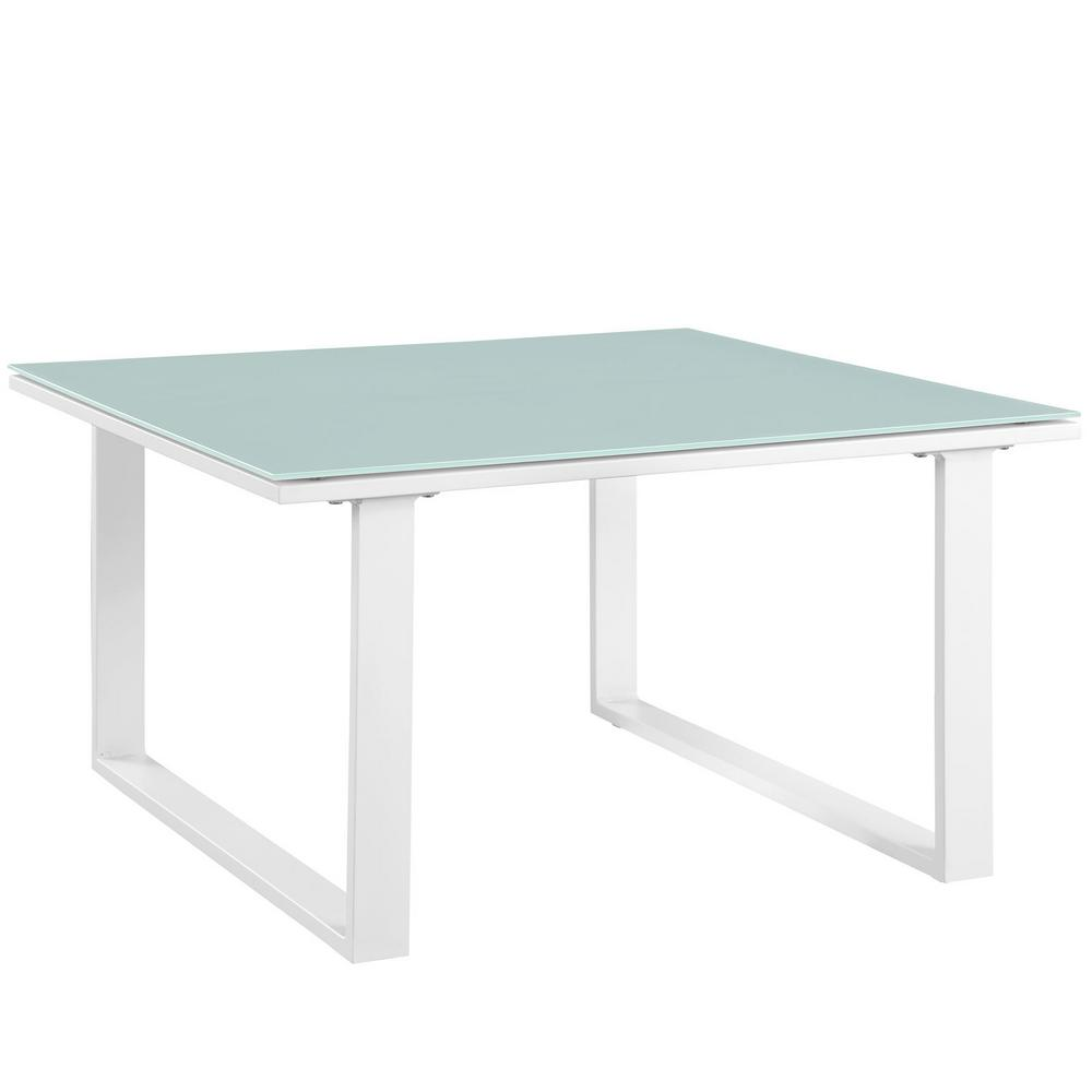 Fortuna Patio in White Aluminum Outdoor Side Table