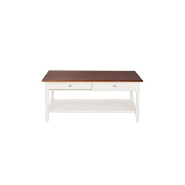 Trentwick Rectangular Ivory Wood 2 Drawer Coffee Table with Walnut Finish Top (44.09 in. W x 19 in. H)