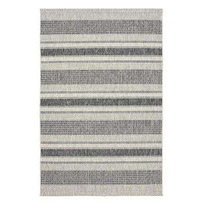 Sun Shower Gray/Black 8 ft. x 10 ft. Indoor/Outdoor Rectangular Area Rug