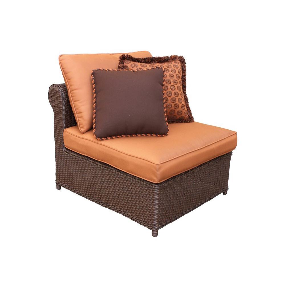 Hampton Bay Cibola Armless Patio Club Chair with Nutmeg Cushions