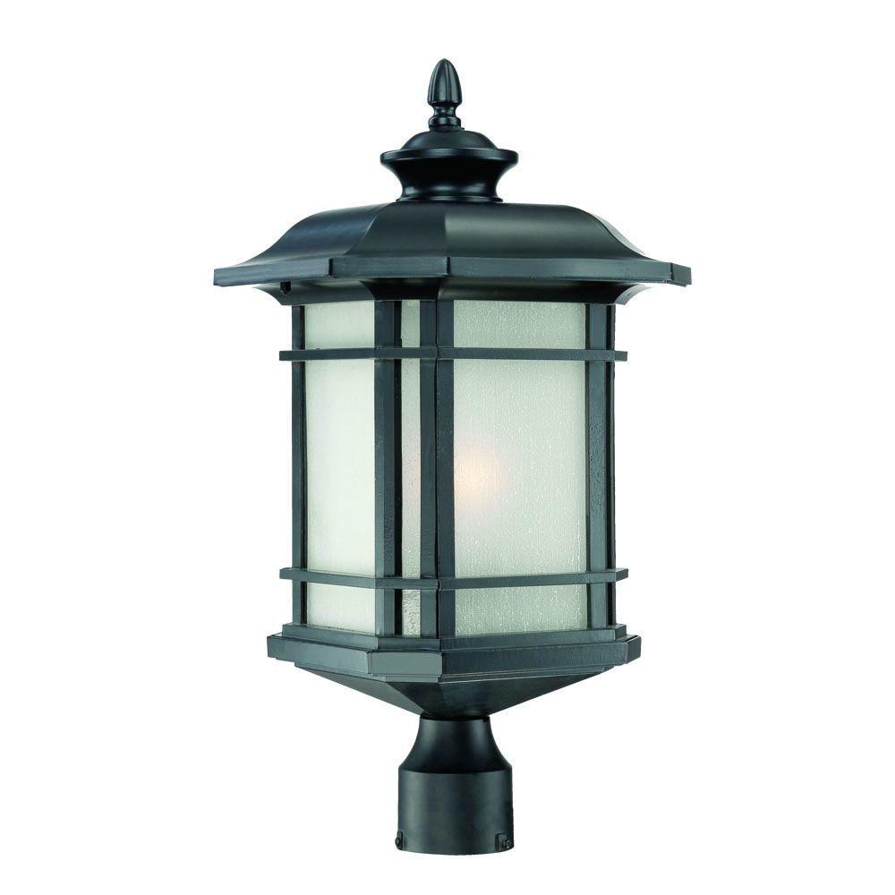 Somerset 1-Light Matte Black Outdoor Post-Mount Light Fixture