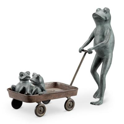 Frog Family with Wagon Planter Garden Statue