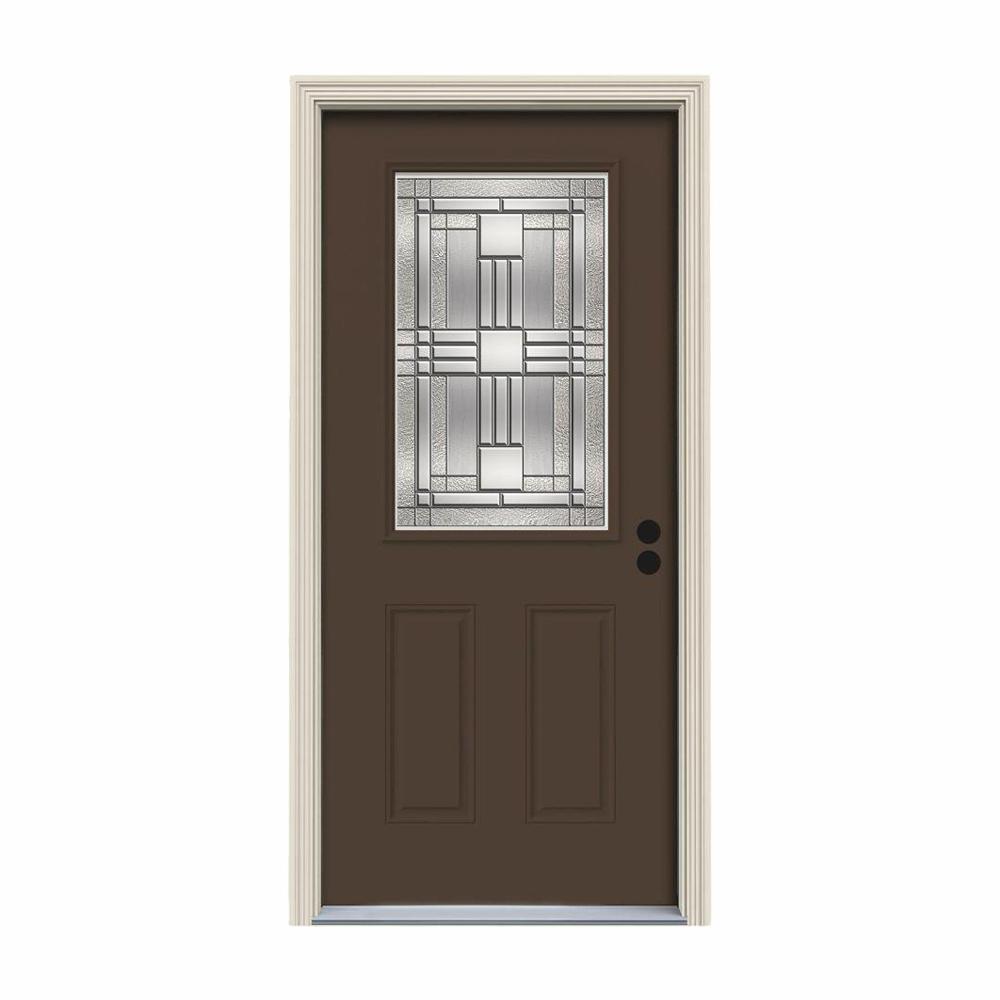 36 in. x 80 in. 1/2 Lite Cordova Dark Chocolate Painted Steel Prehung Left-Hand Inswing Front Door w/Brickmould