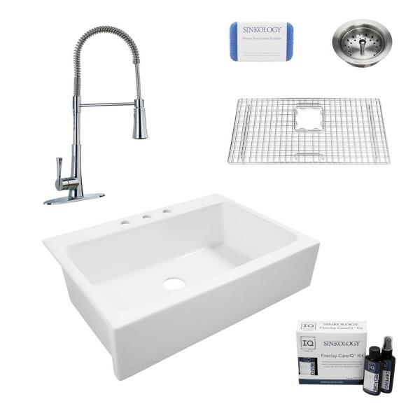 Josephine All-in-One Quick-Fit Farmhouse Fireclay 33.85 in. 3-Hole Single Bowl Kitchen Sink with Pfister Zuri Faucet