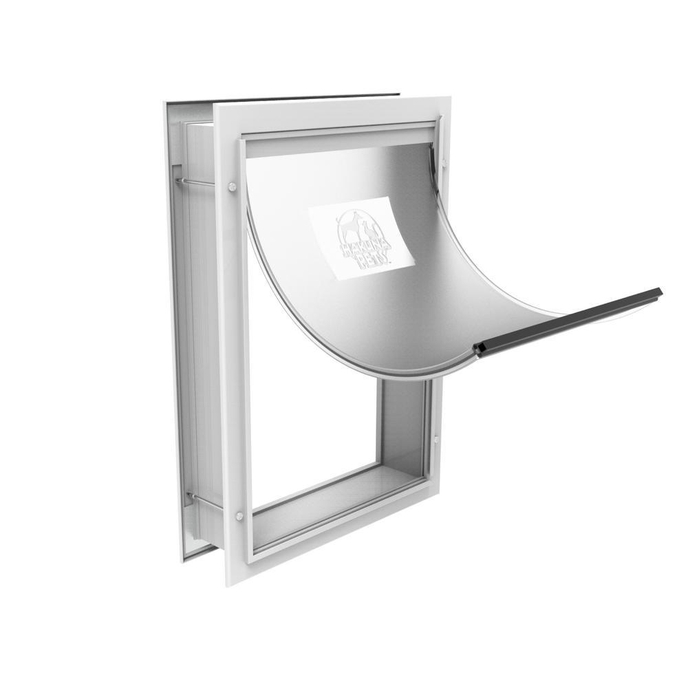 9.3 in. x 12.4 in. Medium Deluxe Aluminum Pet Door, Adjustable Tunnel, White