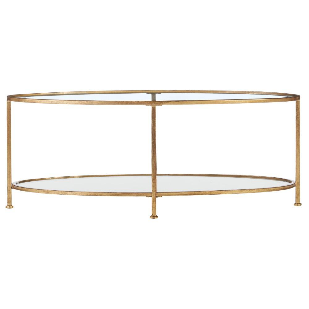 Home Decorators Bella Aged Gold Oval Glass Coffee Table