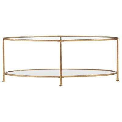 Bella Aged Gold Oval Glass Coffee Table