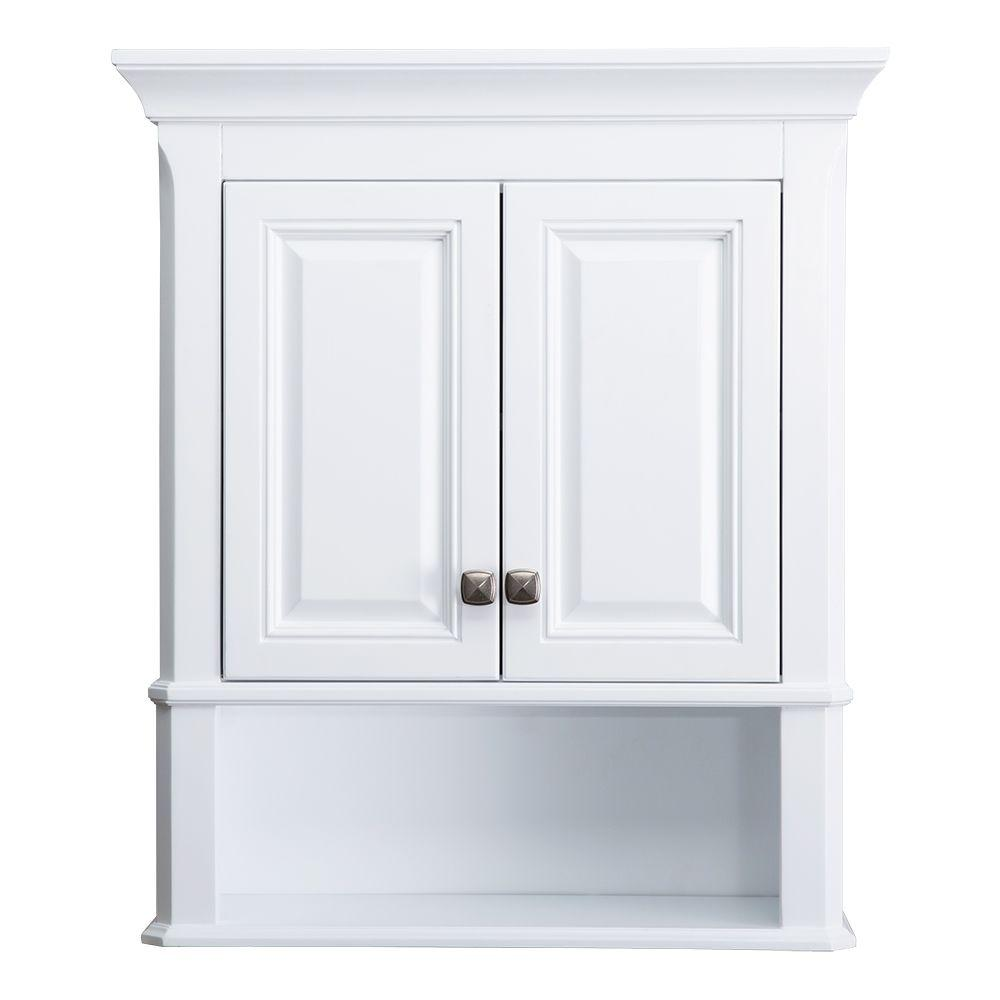 Home Decorators Collection Moorpark 24 In W Bathroom Storage Wall Cabinet White Mpwc2428 The Depot