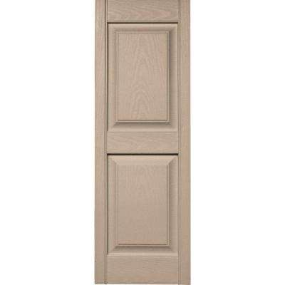 15 in. x 43 in. Raised Panel Vinyl Exterior Shutters Pair in #023 Wicker
