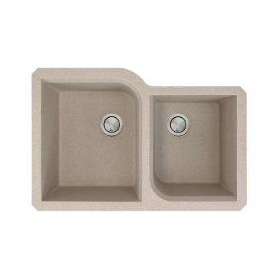 Radius Undermount Granite 32 in. 1-3/4 Offset Double Bowl Kitchen Sink in Cafe Latte