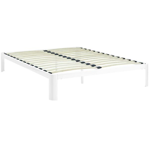 9a6e0c21090407 MODWAY Corinne White Full Bed Frame MOD-5468-WHI - The Home Depot