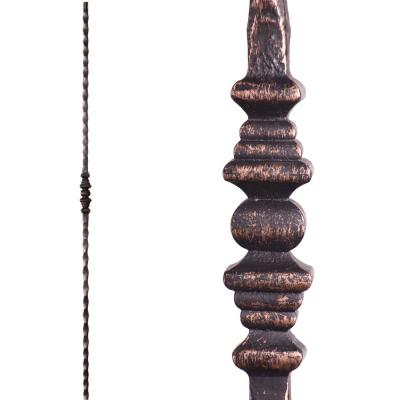 Tuscan Square Hammered 44 in. x 0.5625 in. Oil Rubbed Bronze Single Decorative Knuckle Solid Wrought Iron Baluster