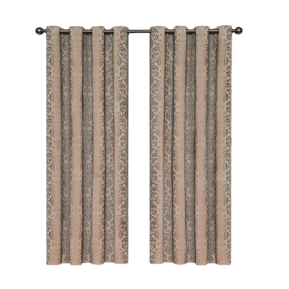 Nadya Print Blackout Window Curtain Panel in Linen - 52 in. W x 108 in. L