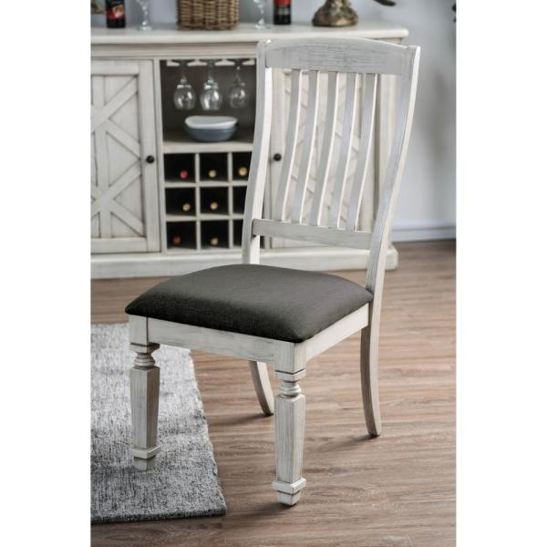 Furniture Of America Dave Antique White Cushioned Farmhouse Dining Chair Set Of 2 Idf 3089sc The Home Depot