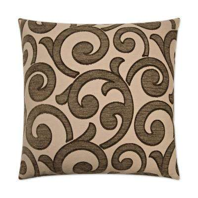 Key Taupe Feather Down 24 in. x 24 in. Standard Decorative Throw Pillow