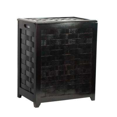 Dark Mahogany Rectangular Weave Laundry Hamper