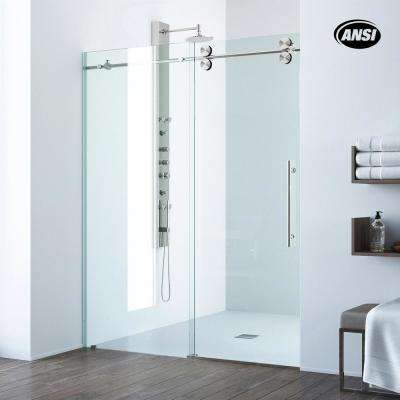 Elan 60 in. x 74 in. Frameless Sliding Shower Door in Stainless Steel with Clear Glass